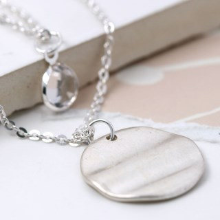 Silver plated wave disc and crystal layered necklace | Image 4