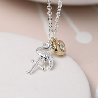 Silver plated necklace with a flamingo and golden heart | Image 3