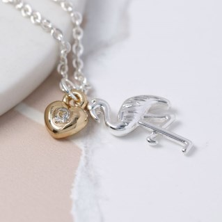 Silver plated necklace with a flamingo and golden heart | Image 4