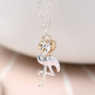 Silver plated necklace with a flamingo and golden heart | Image 2