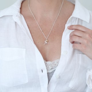 Silver plated necklace with a flamingo and golden heart | Image 5