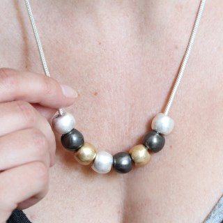 Silver, gold and hematite metallic worn bead necklace | Image 2