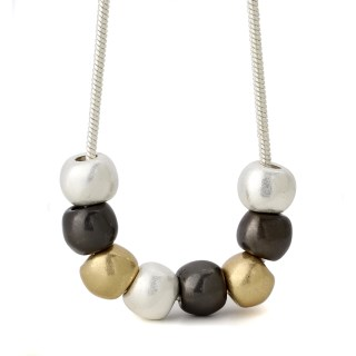 Silver, gold and hematite metallic worn bead necklace | Image 5