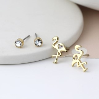 Gold plated flamingo and crystal stud earring set | Image 3