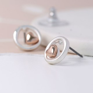 Silver plated circle and rose gold heart earrings | Image 2