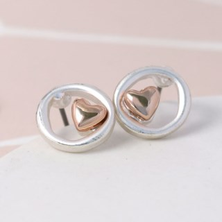 Silver plated circle and rose gold heart earrings | Image 3