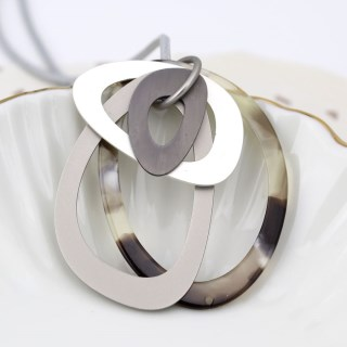 Grey resin and mixed metallic multi hoop pendant | Image 4