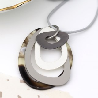 Grey resin and mixed metallic multi hoop pendant | Image 2