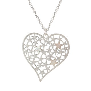 Silver plated scratched heart necklace filled with stars | Image 2