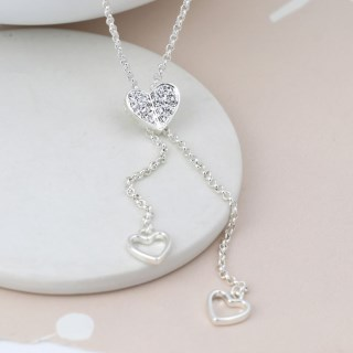 Silver plated lariat style necklace with crystal heart | Image 2