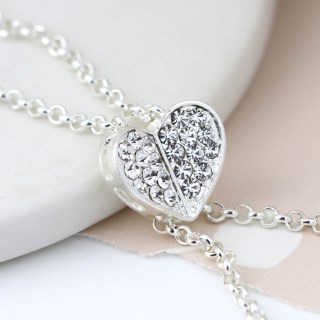 Silver plated lariat style necklace with crystal heart | Image 3