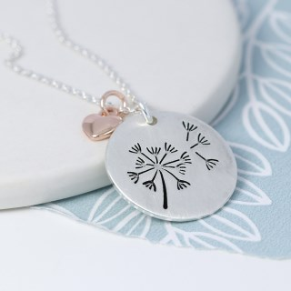 Silver plated dandelion disc and rose gold heart necklace | Image 3