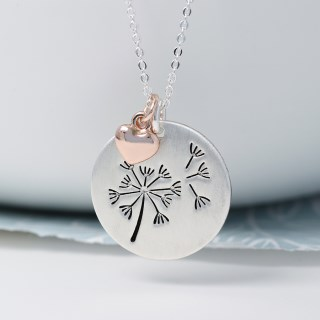 Silver plated dandelion disc and rose gold heart necklace | Image 2