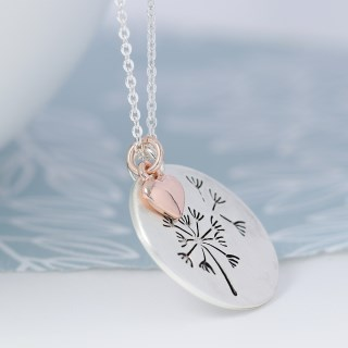 Silver plated dandelion disc and rose gold heart necklace | Image 4