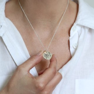 Silver plated dandelion disc and rose gold heart necklace | Image 6
