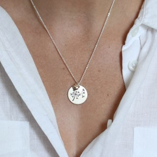 Silver plated dandelion disc and rose gold heart necklace | Image 5