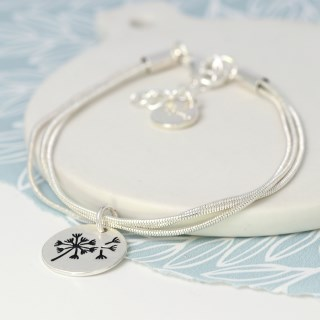 Silver plated triple strand bracelet with a dandelion disc | Image 4