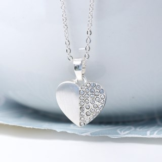 Silver plated brushed heart necklace half inset with crystals | Image 3
