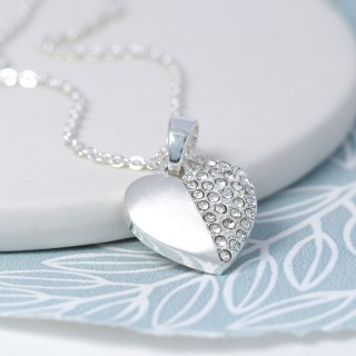 Silver plated brushed heart necklace half inset with crystals | Image 4