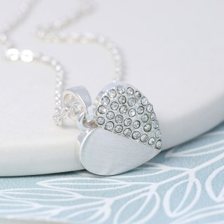 Silver plated brushed heart necklace half inset with crystals | Image 5