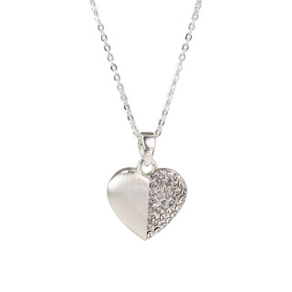 Silver plated brushed heart necklace half inset with crystals | Image 2