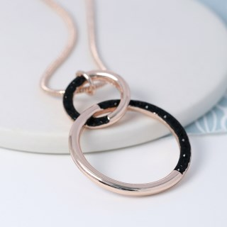 Rose gold twin hoop necklace with black crystal detail | Image 3