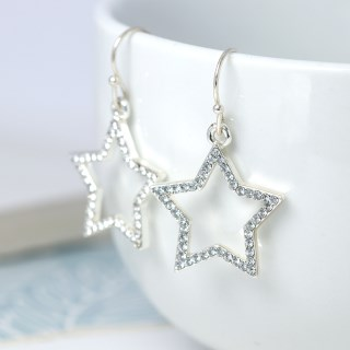 Silver plated open star drop earrings with crystals | Image 4