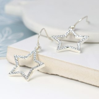 Silver plated open star drop earrings with crystals | Image 3
