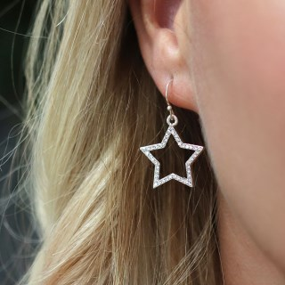 Silver plated open star drop earrings with crystals | Image 2