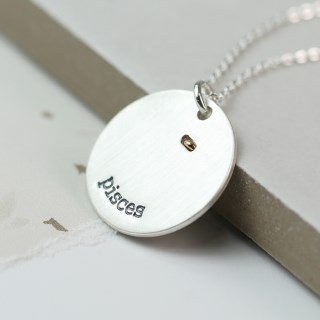 Silver plated Pisces zodiac necklace with a golden star | Image 3