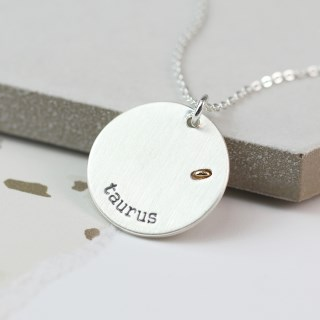 Silver plated Taurus zodiac necklace with a golden star | Image 3