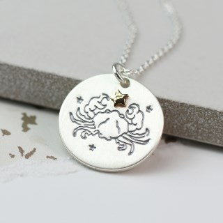 Silver plated Cancer zodiac necklace with a golden star | Image 2