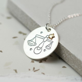 Silver plated Libra zodiac necklace with a golden star | Image 2