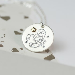 Silver plated Scorpio zodiac necklace with a golden star | Image 2