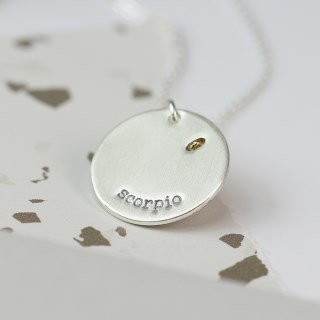 Silver plated Scorpio zodiac necklace with a golden star | Image 3
