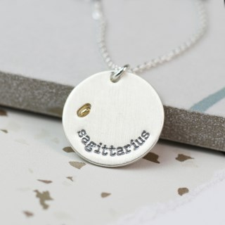 Silver plated Sagittarius zodiac necklace with a golden star | Image 3
