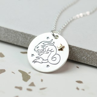 Silver plated Capricorn zodiac necklace with a golden star | Image 2
