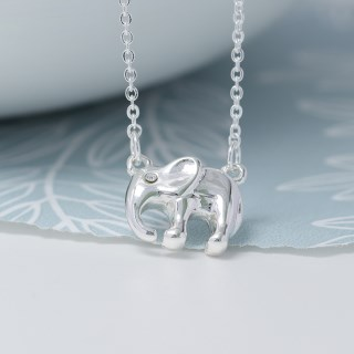 Silver plated elephant necklace with crystal detail | Image 3