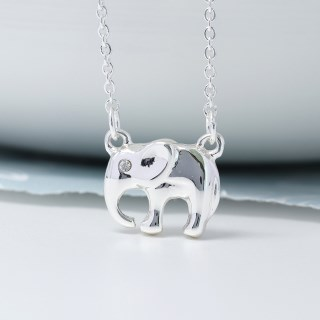 Silver plated elephant necklace with crystal detail | Image 2