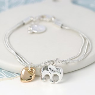 Silver plated elephant and golden heart charm bracelet | Image 2