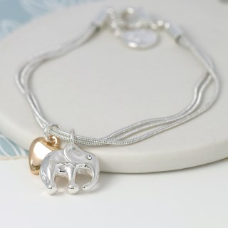 Silver plated elephant and golden heart charm bracelet | Image 3