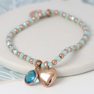 Aqua bead and rose gold heart charm bracelet with crystal | Image 3