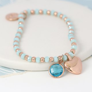 Aqua bead and rose gold heart charm bracelet with crystal | Image 2