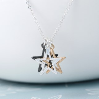 Silver plated triple star mixed finish necklace | Image 3