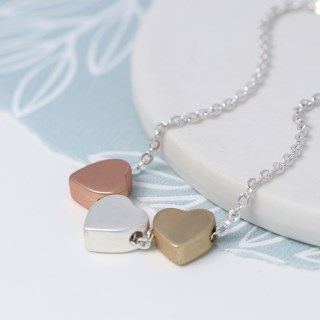 Triple heart necklace in silver, gold and rose gold finishes | Image 2
