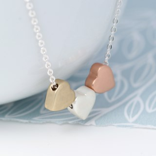 Triple heart necklace in silver, gold and rose gold finishes | Image 4