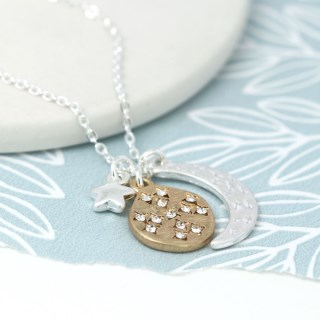 Silver plated moon, star and golden crystal planet necklace | Image 3