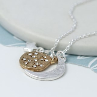 Silver plated moon, star and golden crystal planet necklace | Image 2