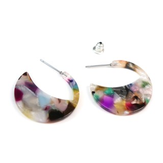 Multicoloured crescent disc resin stud earrings | Image 3