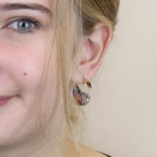 Multicoloured crescent disc resin stud earrings | Image 2